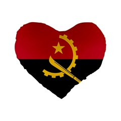 Flag Of Angola Standard 16  Premium Flano Heart Shape Cushions
