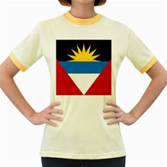 Flag Of Antigua & Barbuda Women s Fitted Ringer T Shirts