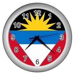 Flag Of Antigua & Barbuda Wall Clocks (silver)