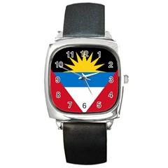 Flag Of Antigua & Barbuda Square Metal Watch by abbeyz71