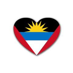 Flag Of Antigua & Barbuda Rubber Coaster (heart)