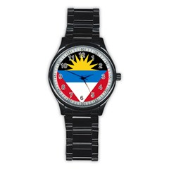 Flag Of Antigua & Barbuda Stainless Steel Round Watch