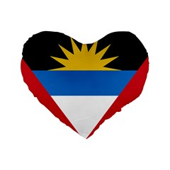 Flag Of Antigua & Barbuda Standard 16  Premium Flano Heart Shape Cushions by abbeyz71