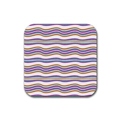 Colorful Wavy Stripes Pattern 7200 Rubber Square Coaster (4 Pack)