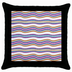 Colorful Wavy Stripes Pattern 7200 Throw Pillow Case (black)
