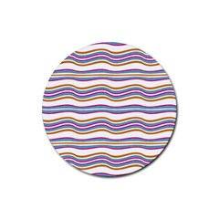 Colorful Wavy Stripes Pattern 7200 Rubber Coaster (round)