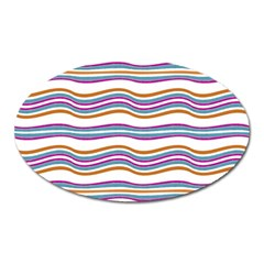 Colorful Wavy Stripes Pattern 7200 Oval Magnet