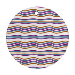 Colorful Wavy Stripes Pattern 7200 Round Ornament (two Sides)