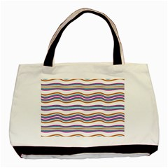 Colorful Wavy Stripes Pattern 7200 Basic Tote Bag (two Sides)
