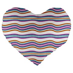Colorful Wavy Stripes Pattern 7200 Large 19  Premium Heart Shape Cushions