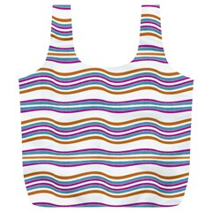 Colorful Wavy Stripes Pattern 7200 Full Print Recycle Bags (l)