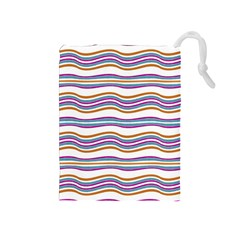 Colorful Wavy Stripes Pattern 7200 Drawstring Pouches (medium)