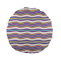 Colorful Wavy Stripes Pattern 7200 Standard 15  Premium Flano Round Cushions