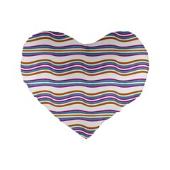Colorful Wavy Stripes Pattern 7200 Standard 16  Premium Flano Heart Shape Cushions by dflcprints