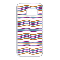 Colorful Wavy Stripes Pattern 7200 Samsung Galaxy S7 White Seamless Case