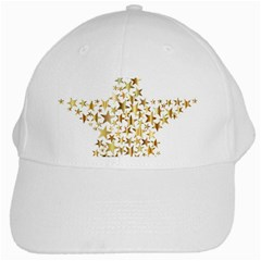 Star Fractal Gold Shiny Metallic White Cap