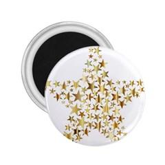 Star Fractal Gold Shiny Metallic 2 25  Magnets by Simbadda