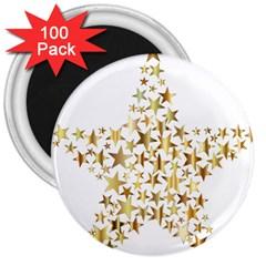 Star Fractal Gold Shiny Metallic 3  Magnets (100 Pack) by Simbadda