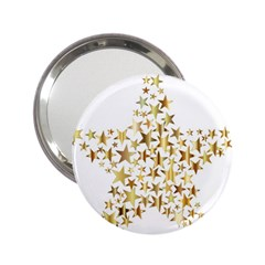 Star Fractal Gold Shiny Metallic 2 25  Handbag Mirrors