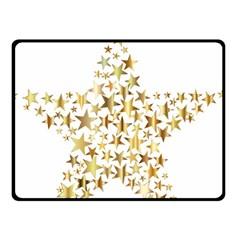 Star Fractal Gold Shiny Metallic Double Sided Fleece Blanket (small)