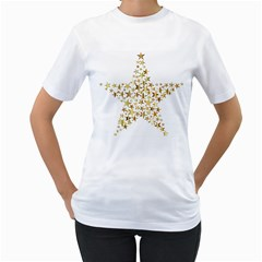 Star Fractal Gold Shiny Metallic Women s T Shirt (white)
