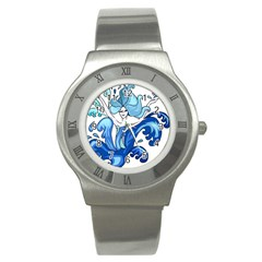 Abstract Colourful Comic Characters Stainless Steel Watch