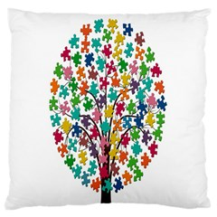 Tree Share Pieces Of The Puzzle Large Cushion Case (two Sides)