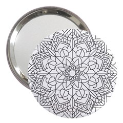 Floral Flower Mandala Decorative 3  Handbag Mirrors