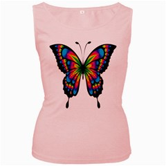 Abstract Animal Art Butterfly Women s Pink Tank Top