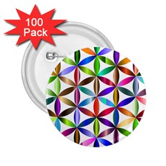 Flower Of Life Sacred Geometry 2 25  Buttons (100 Pack)