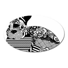 Floral Flourish Decorative Oval Magnet
