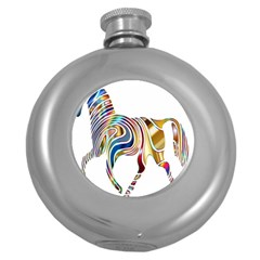 Horse Equine Psychedelic Abstract Round Hip Flask (5 Oz) by Simbadda