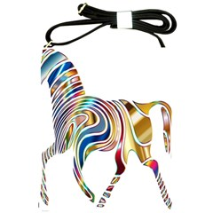 Horse Equine Psychedelic Abstract Shoulder Sling Bags by Simbadda