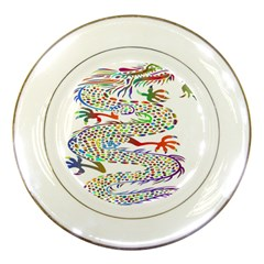 Dragon Asian Mythical Colorful Porcelain Plates