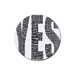 Yes No Typography Type Text Words Rubber Round Coaster (4 Pack)