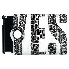 Yes No Typography Type Text Words Apple Ipad 2 Flip 360 Case
