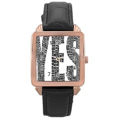 Yes No Typography Type Text Words Rose Gold Leather Watch