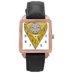 Cheese Rat Mouse Mice Food Cheesy Rose Gold Leather Watch