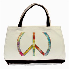 Flourish Decorative Peace Sign Basic Tote Bag by Simbadda