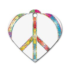 Flourish Decorative Peace Sign Dog Tag Heart (two Sides)