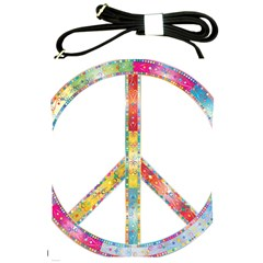 Flourish Decorative Peace Sign Shoulder Sling Bags by Simbadda