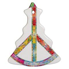 Flourish Decorative Peace Sign Christmas Tree Ornament (two Sides) by Simbadda