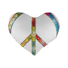 Flourish Decorative Peace Sign Standard 16  Premium Heart Shape Cushions