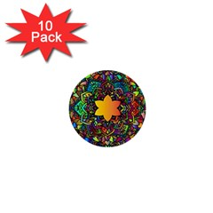 Mandala Floral Flower Abstract 1  Mini Buttons (10 Pack)