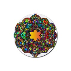 Mandala Floral Flower Abstract Rubber Round Coaster (4 Pack)