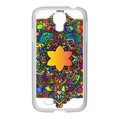 Mandala Floral Flower Abstract Samsung Galaxy S4 I9500/ I9505 Case (white)