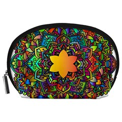 Mandala Floral Flower Abstract Accessory Pouches (large)