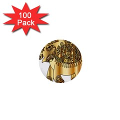 Gold Elephant Pachyderm 1  Mini Buttons (100 Pack)  by Simbadda