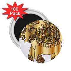 Gold Elephant Pachyderm 2 25  Magnets (100 Pack)