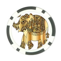 Gold Elephant Pachyderm Poker Chip Card Guard